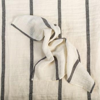 Anichini Valdas Linen Fabric In Ivory With Black Stripes