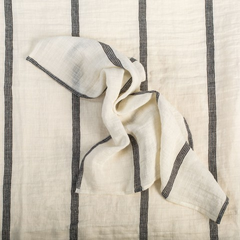 Anichini Valdas Linen Fabric In Ivory With Black Stripes