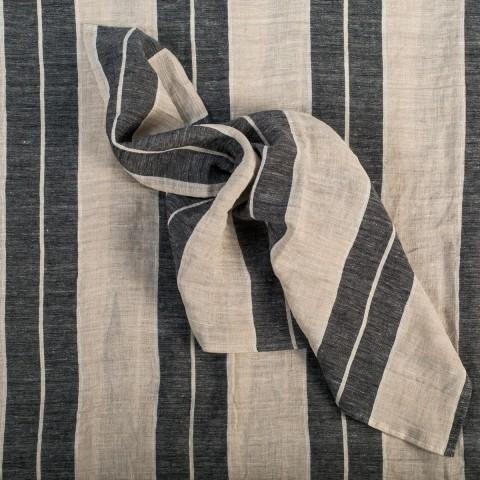 Anichini Valdas Linen Stripe Fabric In Black Wide And Ivory Pin Stripe